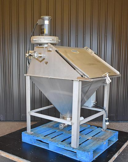 USED HAPMAN TOTE/BAG DUMP STATION WITH DUST COLLECTOR, STAINLESS STEEL, VARIABLE SPEED