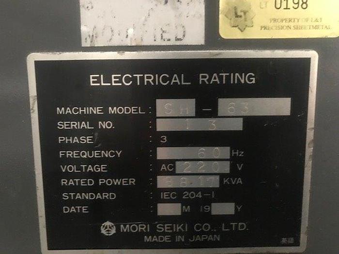"""33""""X, 30""""Y, 33""""Z, MORI SEIKI SH-63, 50 TAPER, 24.5"""" PALLETS [5476]"""
