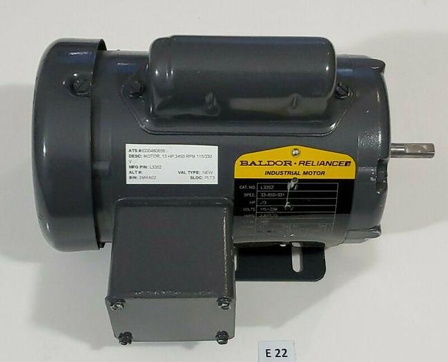 *NEW* Baldor L3352 Electric Motor .13 HP  3450 RPM Phase 1 60HZ 230V + WARRANTY!