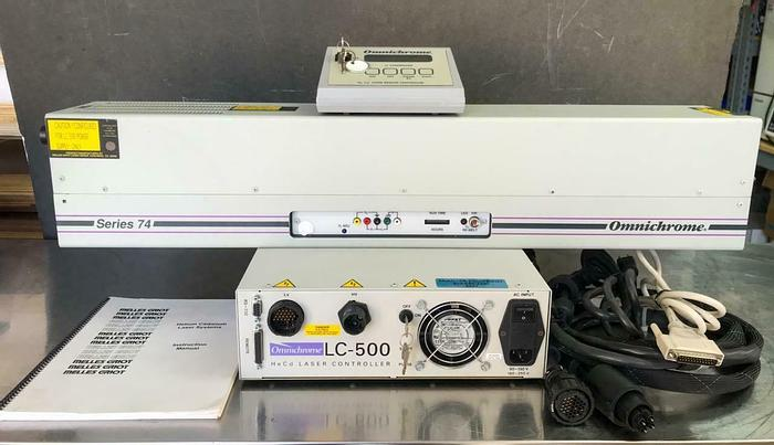 Used Omnichrome Series 74, 45-MRM-302-120 HeCd Laser & LC-500 HeCd Controller (6657)W