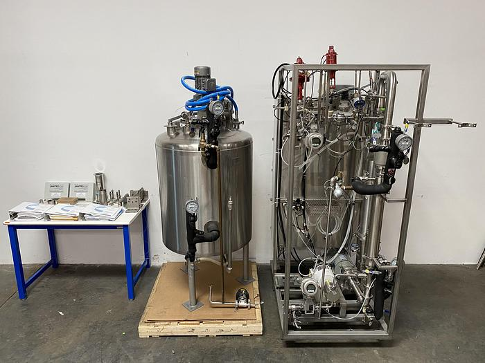 Used SmartFlow PuroSep Gemini-2 Feed & Bleed TFF System w/ 400 Liter Jacketed Vessel