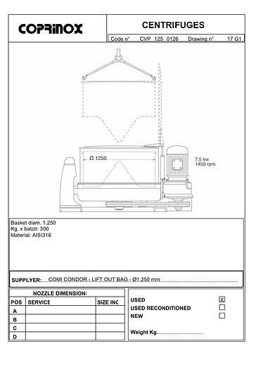 Usata Centrifuga a cestello Comi Condor Alfa/S Ø 1250 mm