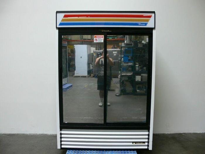 Used TRUE GDM-47 Reflective Sliding Glass Door Merchandiser Refrigerator