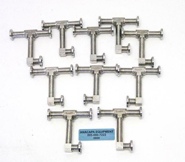 """Used Swagelok Micro-Fit 6LVV P .065 Union Tee 1"""" ElectroPolished UHP Lot of 10 (8808)"""