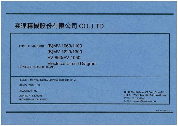 Used Manual for Used Yida CNC Vertical Machine Center (B) MV1060 MV1100 MV1220 MV1300 EV860 EV1050 Electrical Circuit Diagram / PLC Parameter Setting