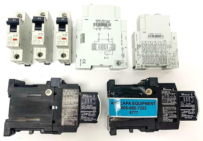 Used Crozuet KNA3-XS 85100036 Safety Relay, TU2R1 88865305 Timer Lot of 7 (8777)W