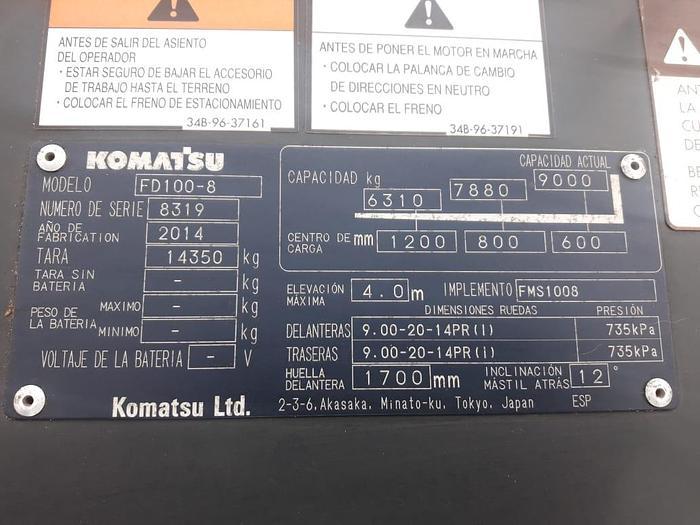 2014 KOMATSU FD100-8