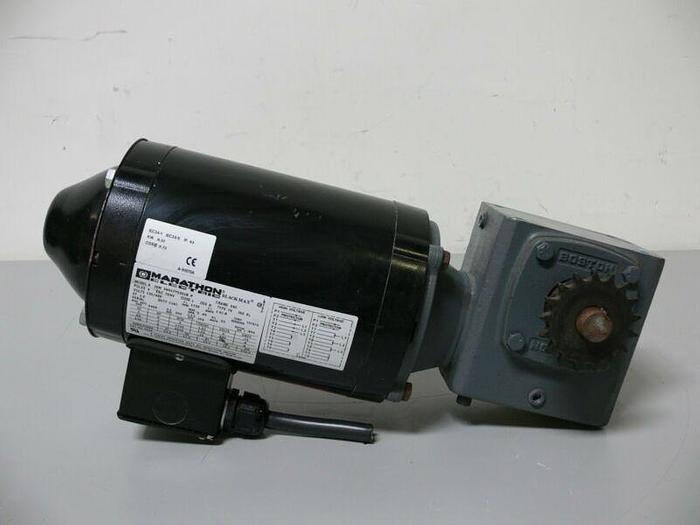 Used Marathon Black Max JVM 56H17T5301B P Electric Motor W/ Boston Gear 718-40K-B5-6