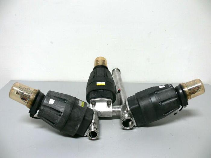 Used Lot of 3 ITT Pure-Flo 316L Diaphragm Valves w/ Advantage 90PSI Actuators