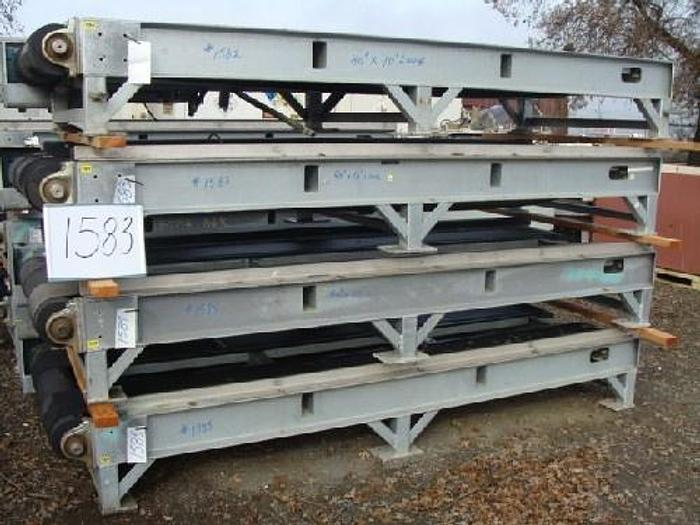 "Rubber Belt Pallet Conveyor 40 wide x 10' long 16"" high conveyor with dual 12"" wide rubber belts galvanized support frame 5 Hp gearmotor drive"" #1583"