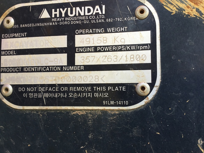 2016 Hyundai Robex480LC-9A