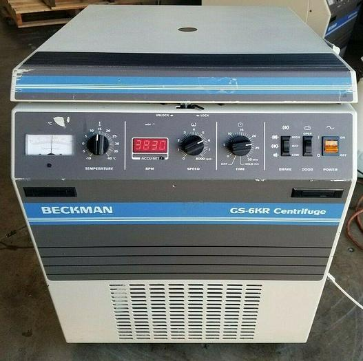 Used Beckman GS-6KR Refrigerated Centrifuge 120V, W/ Rotor, Buckets & Inserts