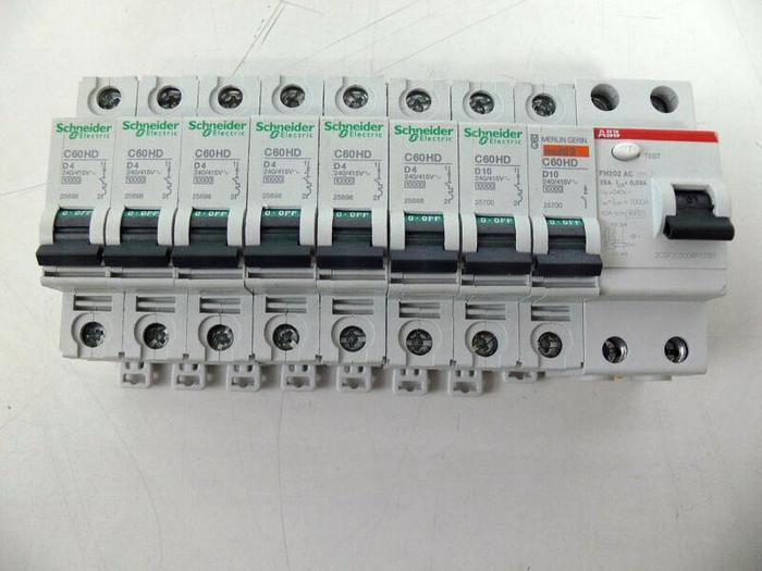 Used Lot of 9 Circuit Breakers, 7 Shneider Electric, 1 Merlin Gerin, & 1 ABB