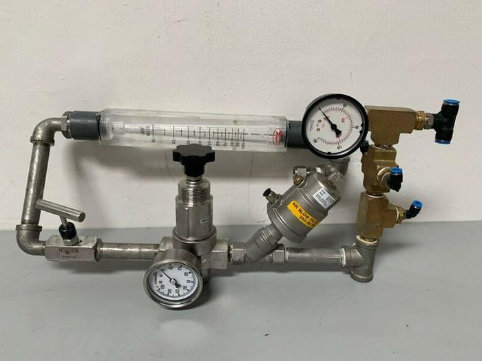 Used STC 2KS-1/2 Angle Seat Valve & Norgen R-22-405-RNMA Regulator & Dwyer Flow Scale