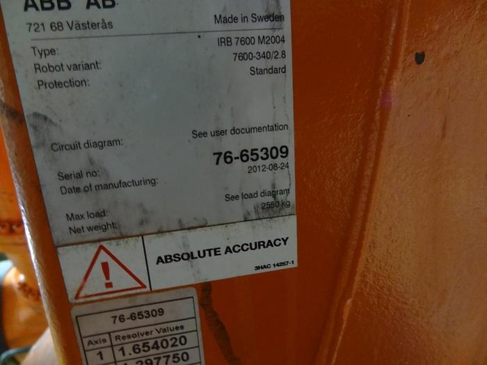 ABB IRB 7600 6 AXIS CNC ROBOT 340KG X 2.8 REACH IRC5 CONTROL