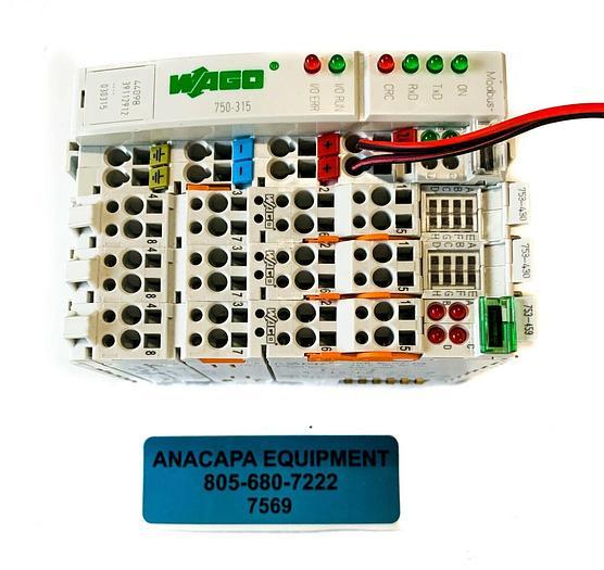 Used Wago 750-315 Modbus Fieldbus Coupler, 753-430 & 753-459 Input Modules Lot (7569)