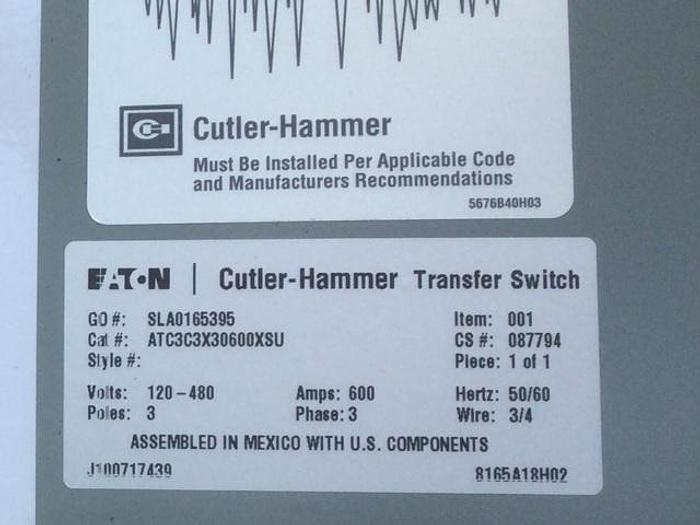 Used EATON Cutler hammer 600amp 3 phase 480 volt ATS
