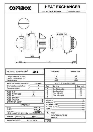 Scambiatore di calore O.C.S.  S.p.A. da 366,6 metri quadrati