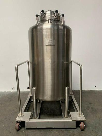 Used Optimum Stainless Steel 225 Gallon Pressure Vessel / Tank On Rolling Cart 75 PSI