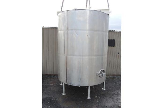 USED 6340 GALLON JACKETED TANK, STAINLESS STEEL, SANITARY, WITH 15 HP MIXER