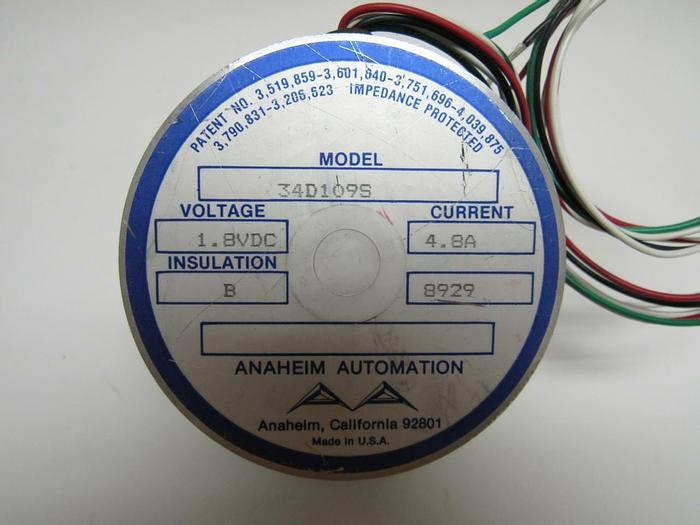 Used Anaheim Automation Stepper Motor 34D109S 1.8VDC Single Shaft (3903)