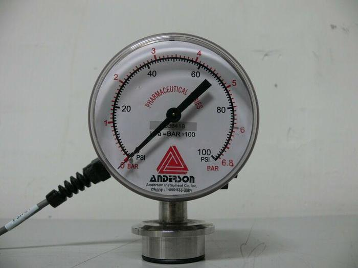 Used Anderson EB071011231023 Pharmaceutical Series Pressure Gauge 0-100 PSI 90mm