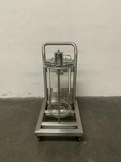 Used Applikon 30 Liter Glass Reactor w/ Stainless Steel Rolling Cart