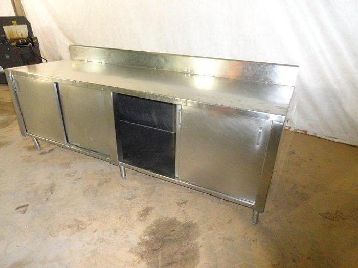 """Used Stainless Steel Table with Under Cabinets; 8'L x 30""""W"""