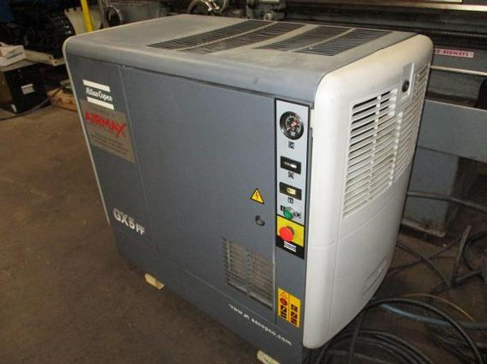 7.5 HP, ATLAS COPCO GX5 FF, 2002, ROTARY SCREW AIR COMPRESSOR