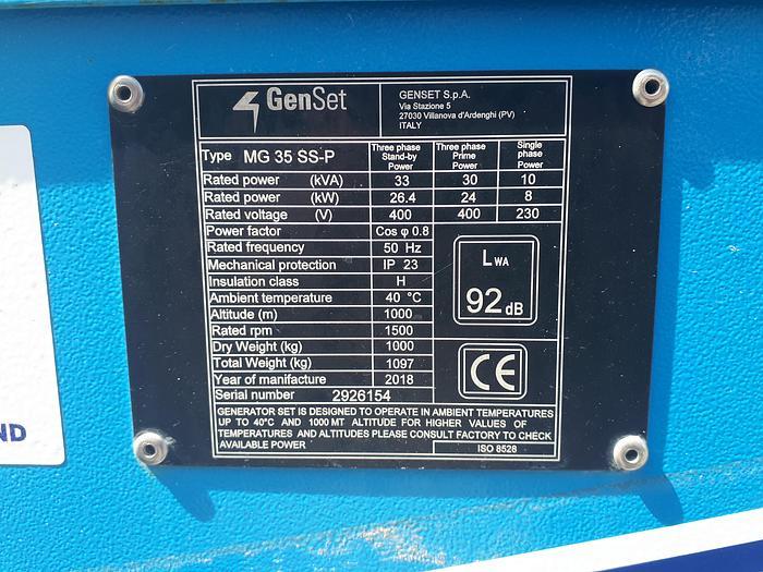 Genset MG 35 SS-P - Road Tow - Rental Spec