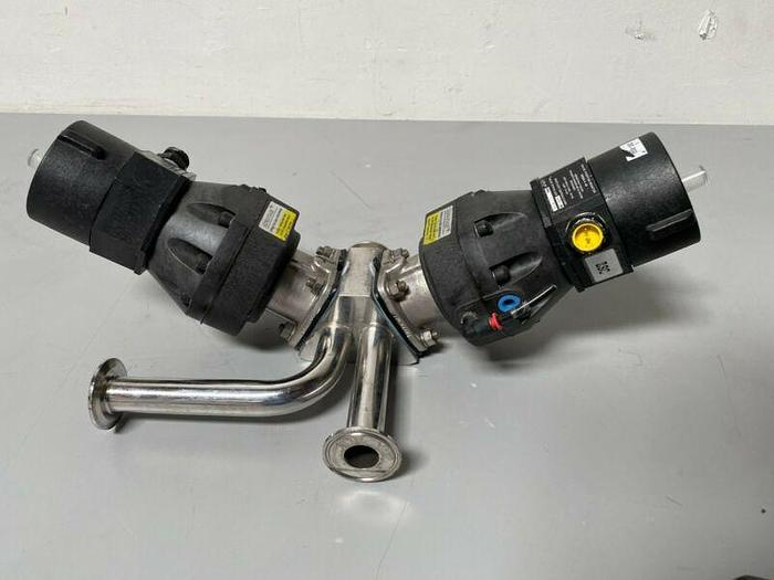 "Used 2 ITT Sherotec 90PSI Stainless Steel Valves w/ 2 Position Monitor 3/4"" Sanitary"