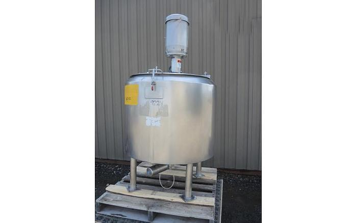 USED 50 GALLON JACKETED TANK, STAINLESS STEEL, SANITARY WITH 7.5 HP HIGH SHEAR MIXER & LOAD CELLS