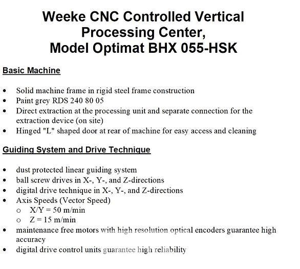 Used 2013 Weeke BHX-055 HSK