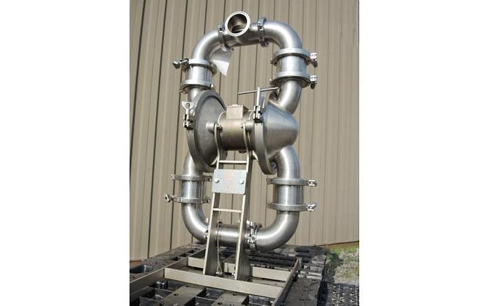 """USED DIAPHRAGM PUMP, 3"""" X 3"""" INLET & OUTLET, STAINLESS STEEL, HIGH SANITATION PUMP"""