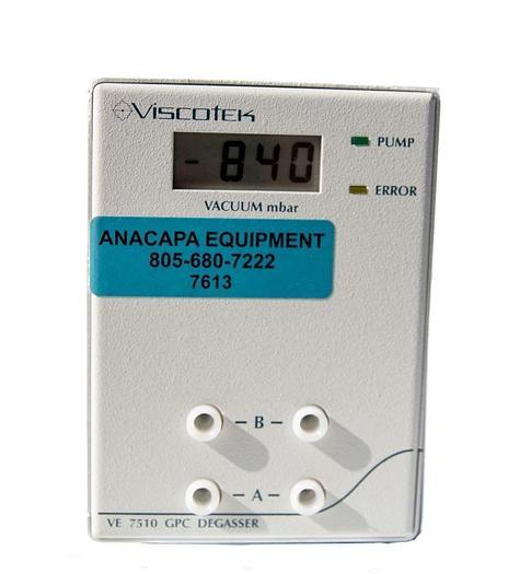 Used Viscotek VE 7510 GPC Degasser, 230/110V, 50/60Hz, 0.8 Amp, 4-Channel (7613) W