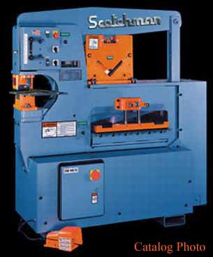 65 Ton Scotchman 2409-24M Ironworker With Tooling & Laser Light, 460V