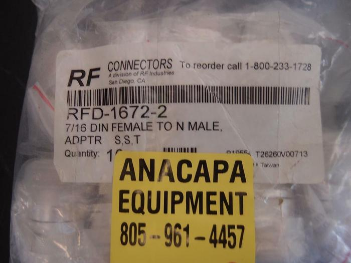 Used RF Connectors RFD-1672-2 7/16 DIN Female To N Male Adapter Lot of Ten (1218)