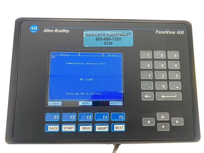 Used Allen-Bradley PanelView 600 Color Display & Keypad Terminal 2711-K6C20 (6338)