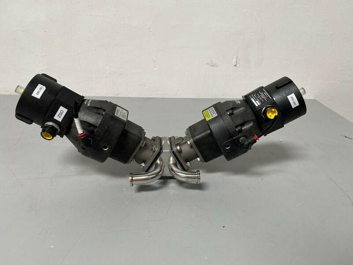 """Used 2 ITT Sherotec 3-way Stainless Steel Valves w/  Position Monitor & 3/4"""" Sanitary"""