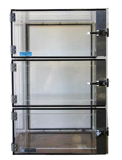 "Used Terra Universal 2162-00 Plexiglass Desiccator 3 Chamber Cabinet 23x18x36"" (8103)"