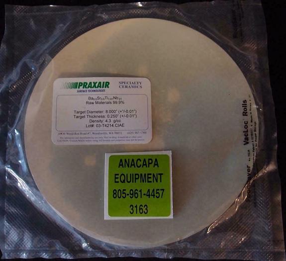 """Used Praxair Ceramics Sputtering Target Ba-Sr-Ti-Nb Oxide 99.9% 8""""x 0.25"""" (3163)"""