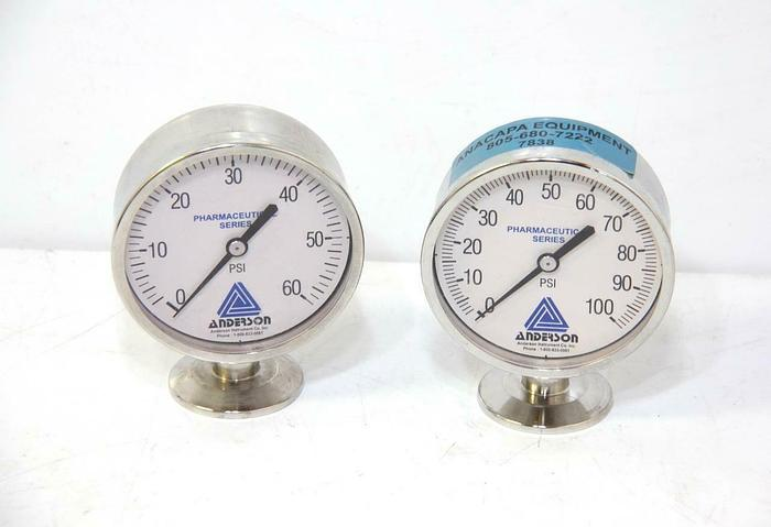 Used Anderson EM071010041021A Pressure Sensors 0-60 & 0-100 PSI USED LOT OF 2 (7838)R
