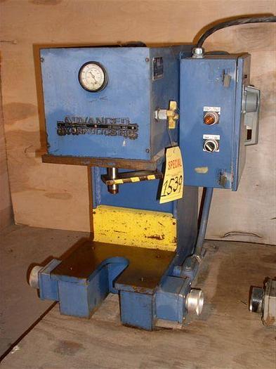 """Used 2 Ton Advanced Hydraulics Gap Frame Press; 10"""" x 12"""" BA; 4"""" - 6"""" Str; Bench Model; $1,850"""