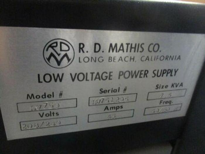 R.D. MATHIS LOW VOLTAGE POWER SUPPLY MODEL LV750 USED ONLY 3 TIMES..