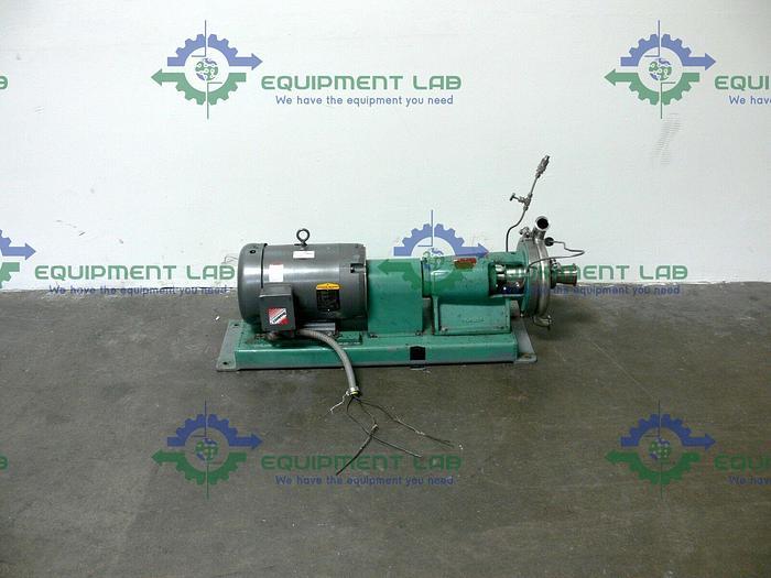 Used Tri-Clover TRI-FLO Pump SP218MH-S w/ 10HP Baldor Industrial Motor CM3711T