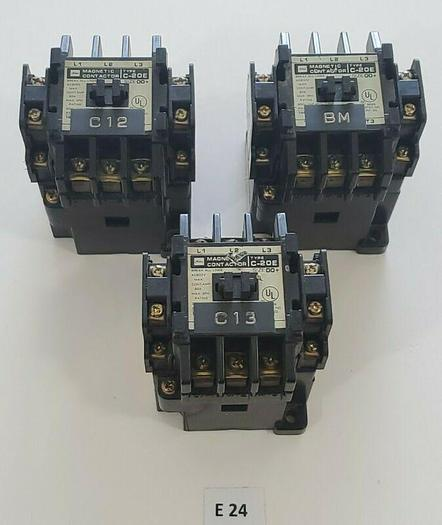 Used *PREOWNED* LOT OF 3 TOSHIBA C-20E SIZE 00+ 20A 600VAC MAGNETIC CONTACTORS