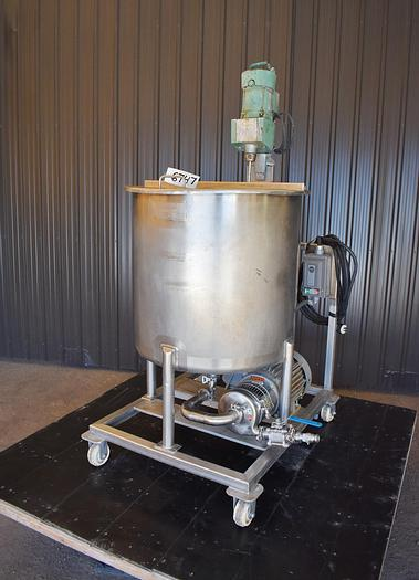 Used 80 GALLON 316 STAINLESS STEEL PROCESS MIXING TANK WITH CENTRIFUGAL PUMP