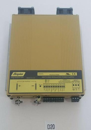 Used *PREOWNED* Acopian Power Supply  Y024LX1800 18AMP Input 90-350V Output 0-24V
