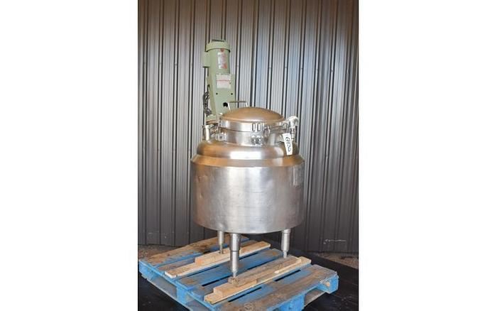 USED 50 GALLON JACKETED TANK (REACTOR), STAINLESS STEEL, WITH LIGHTNIN MIXER