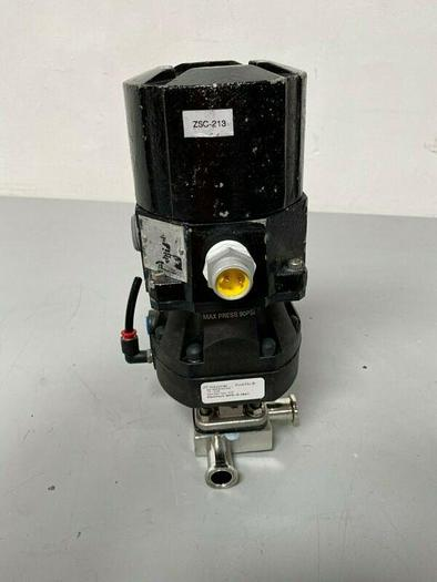 """Used ITT Pure-Flo A209 Stainless Steel 3-Way Diaphragm Valve w/ 1"""" Sanitary Fittings"""